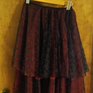 High-low red and black petticoat skirt